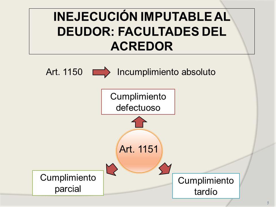 INEJECUCIÓN IMPUTABLE AL DEUDOR: FACULTADES DEL ACREDOR 5 Cumplimiento parcial Cumplimiento tardío Cumplimiento defectuoso Art.