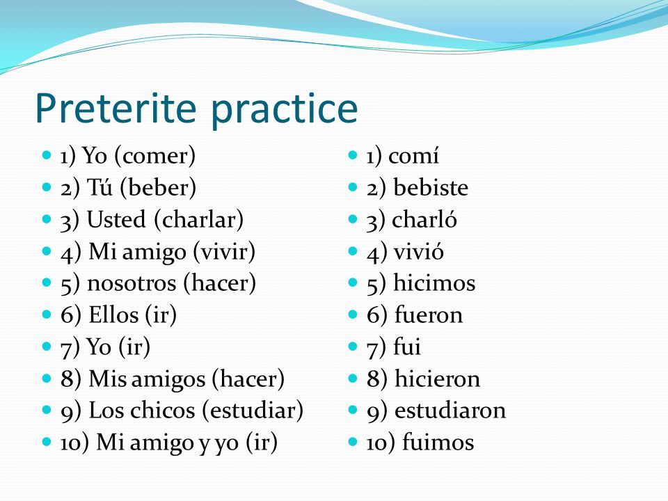 future 1) yo (comer) 2) ellos (ir) 3) Nosotros (ir) 4) Usted (bailar) 5) yo (salir) 6) yo (tener) 7) los chicos (comer) 1) Comeré 2) irán 3) iremos 4) bailará 5) saldré 6) tendré 7) comerán