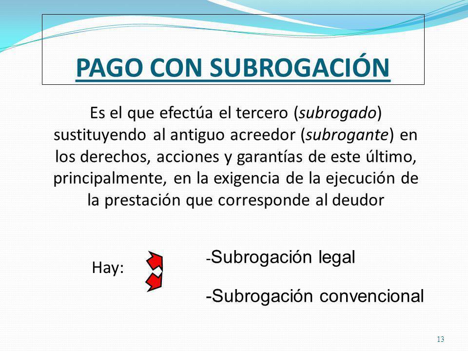 PAGO CON SUBROGACIÓN 13 Es el que efectúa el tercero (subrogado) sustituyendo al antiguo acreedor (subrogante) en los derechos, acciones y garantías de este último, principalmente, en la exigencia de la ejecución de la prestación que corresponde al deudor - Subrogación legal -Subrogación convencional Hay: