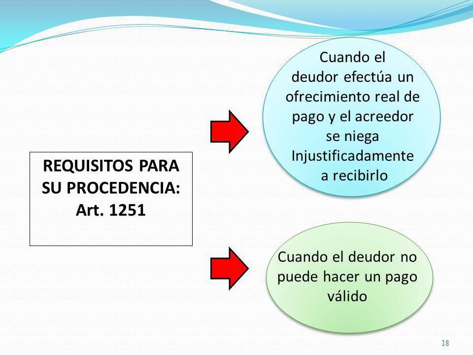 18 REQUISITOS PARA SU PROCEDENCIA: Art.