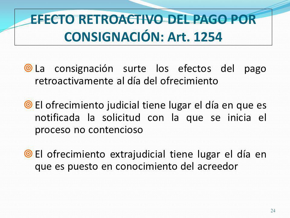 EFECTO RETROACTIVO DEL PAGO POR CONSIGNACIÓN: Art.