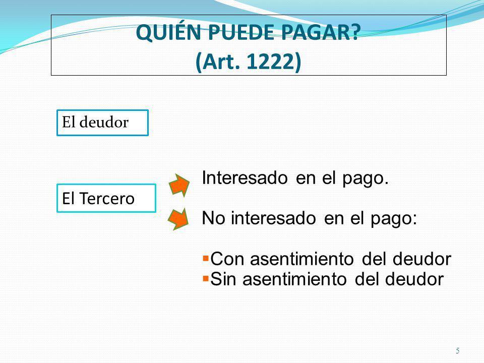QUIÉN PUEDE PAGAR.(Art. 1222) 5 El deudor El Tercero Interesado en el pago.