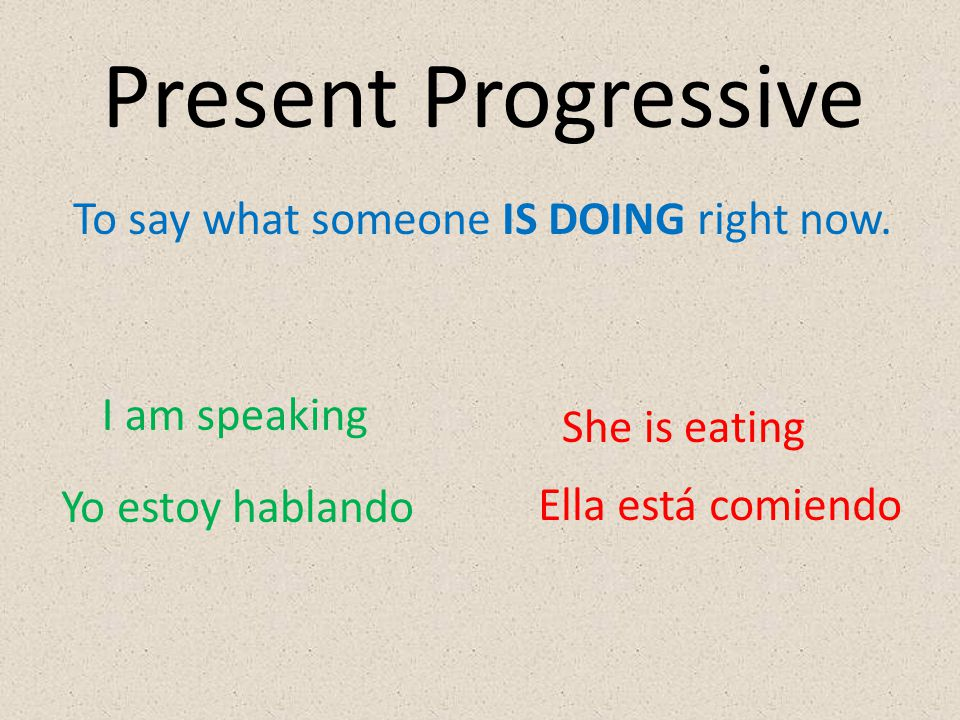 To say what someone IS DOING right now. I am speaking She is eating Yo estoy hablando Ella está comiendo Present Progressive
