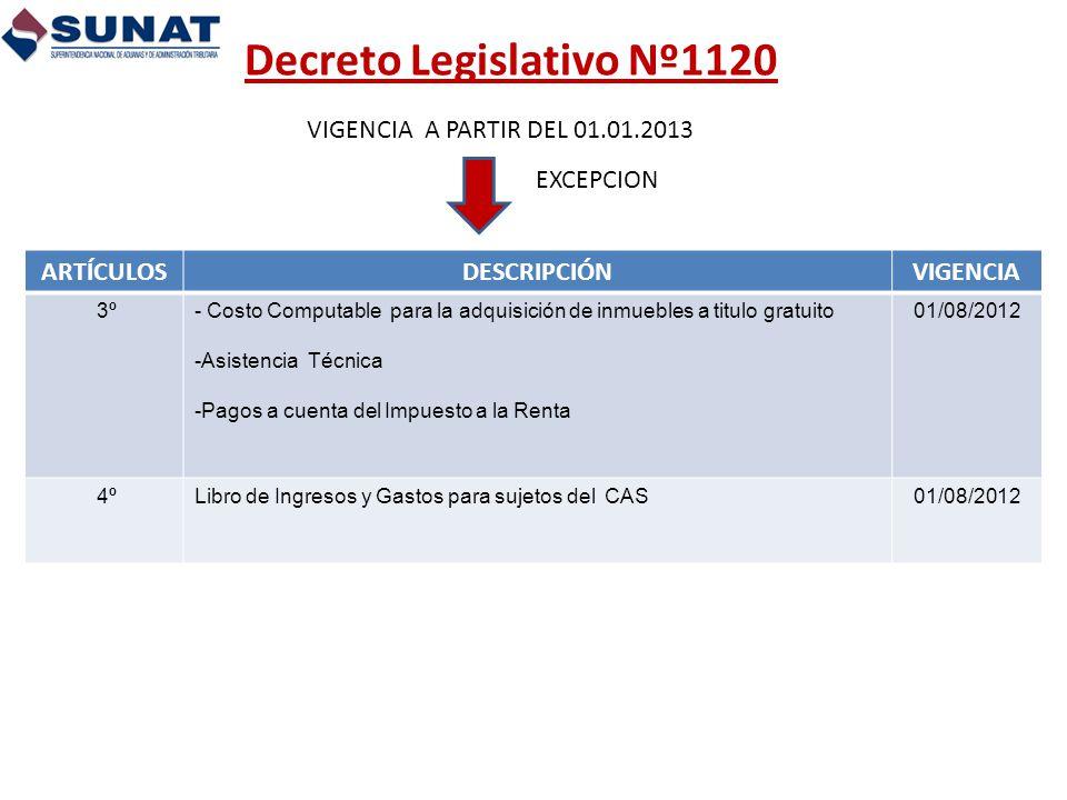 Decreto Legislativo Nº1120 VIGENCIA A PARTIR DEL 01.01.2013 EXCEPCION ARTÍCULOSDESCRIPCIÓNVIGENCIA 3º- Costo Computable para la adquisición de inmuebl