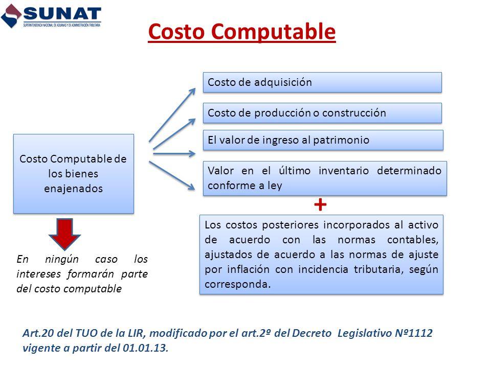 Costo Computable Art.20 del TUO de la LIR, modificado por el art.2º del Decreto Legislativo Nº1112 vigente a partir del 01.01.13. Costo de adquisición