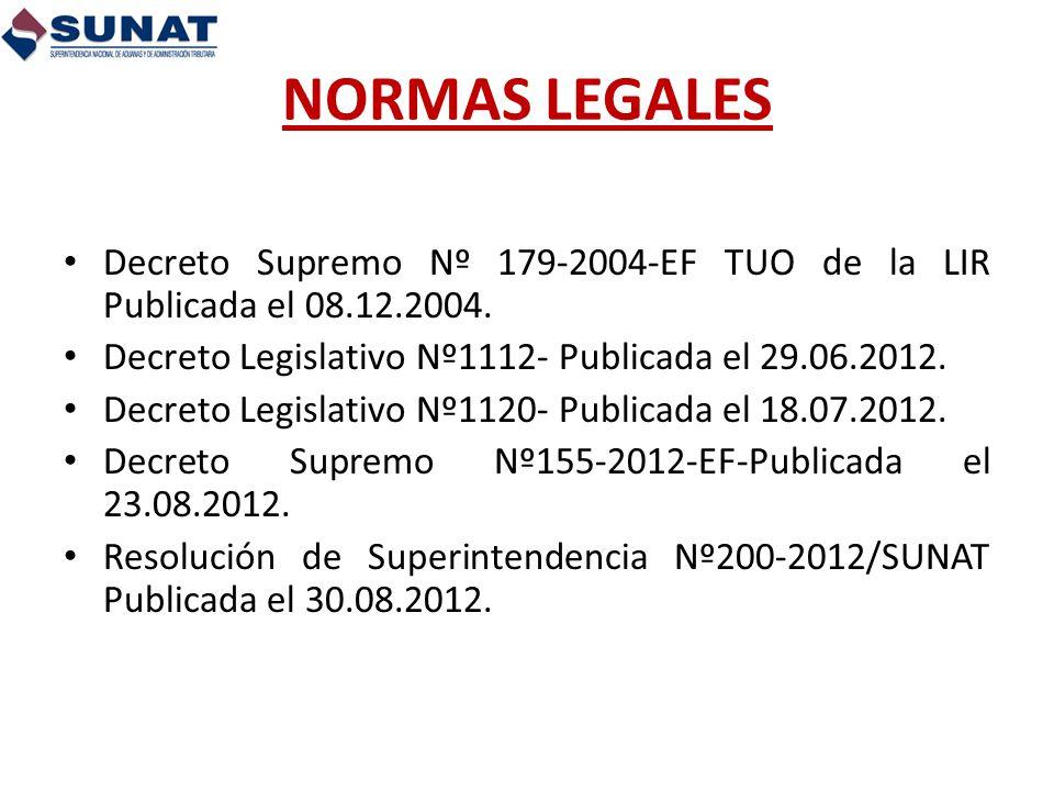 NORMAS LEGALES Decreto Supremo Nº 179-2004-EF TUO de la LIR Publicada el 08.12.2004. Decreto Legislativo Nº1112- Publicada el 29.06.2012. Decreto Legi
