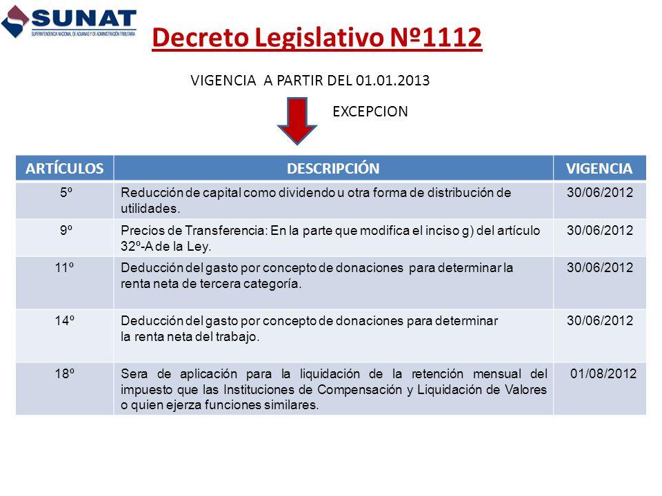 Decreto Legislativo Nº1112 VIGENCIA A PARTIR DEL 01.01.2013 EXCEPCION ARTÍCULOSDESCRIPCIÓNVIGENCIA 5ºReducción de capital como dividendo u otra forma