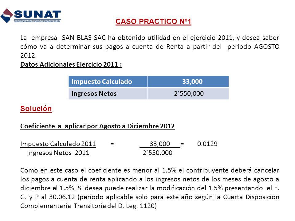 CASO PRACTICO Nº1 La empresa SAN BLAS SAC ha obtenido utilidad en el ejercicio 2011, y desea saber cómo va a determinar sus pagos a cuenta de Renta a