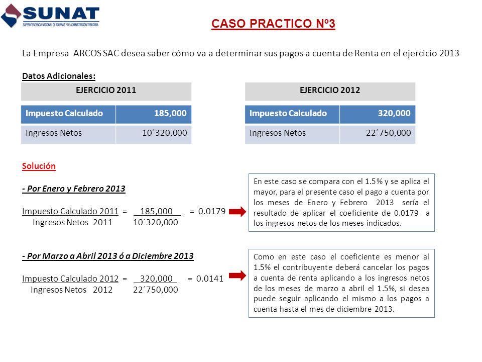CASO PRACTICO Nº3 La Empresa ARCOS SAC desea saber cómo va a determinar sus pagos a cuenta de Renta en el ejercicio 2013 Datos Adicionales: Solución -