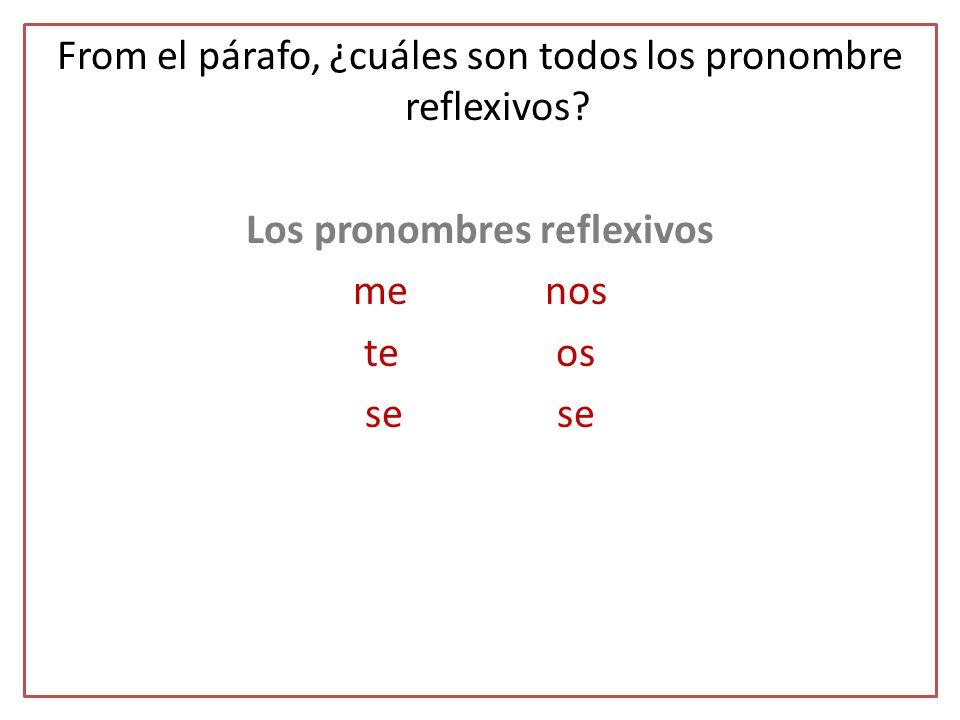 From el párafo, ¿cuáles son todos los pronombre reflexivos? Los pronombres reflexivos menos teosse