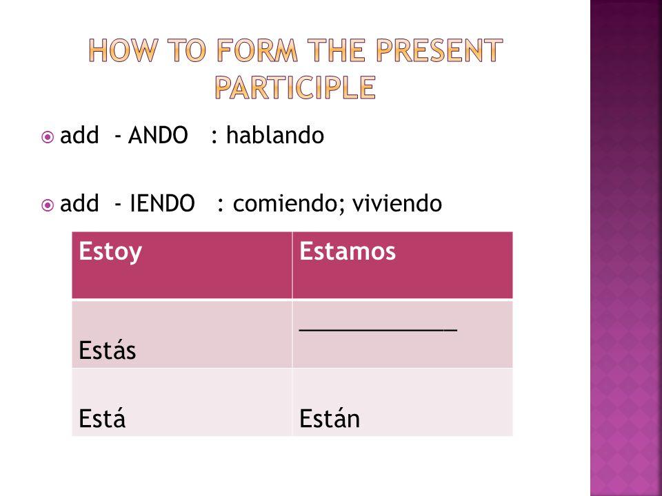 add - ANDO : hablando add - IENDO : comiendo; viviendo EstoyEstamos Estás ____________ EstáEstán