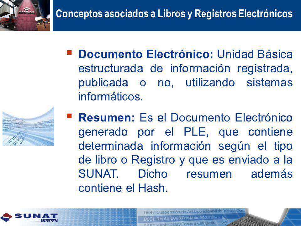 Conceptos asociados a Libros y Registros Electrónicos Documento Electrónico: Unidad Básica estructurada de información registrada, publicada o no, uti
