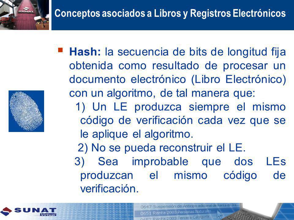 Conceptos asociados a Libros y Registros Electrónicos Hash: la secuencia de bits de longitud fija obtenida como resultado de procesar un documento ele