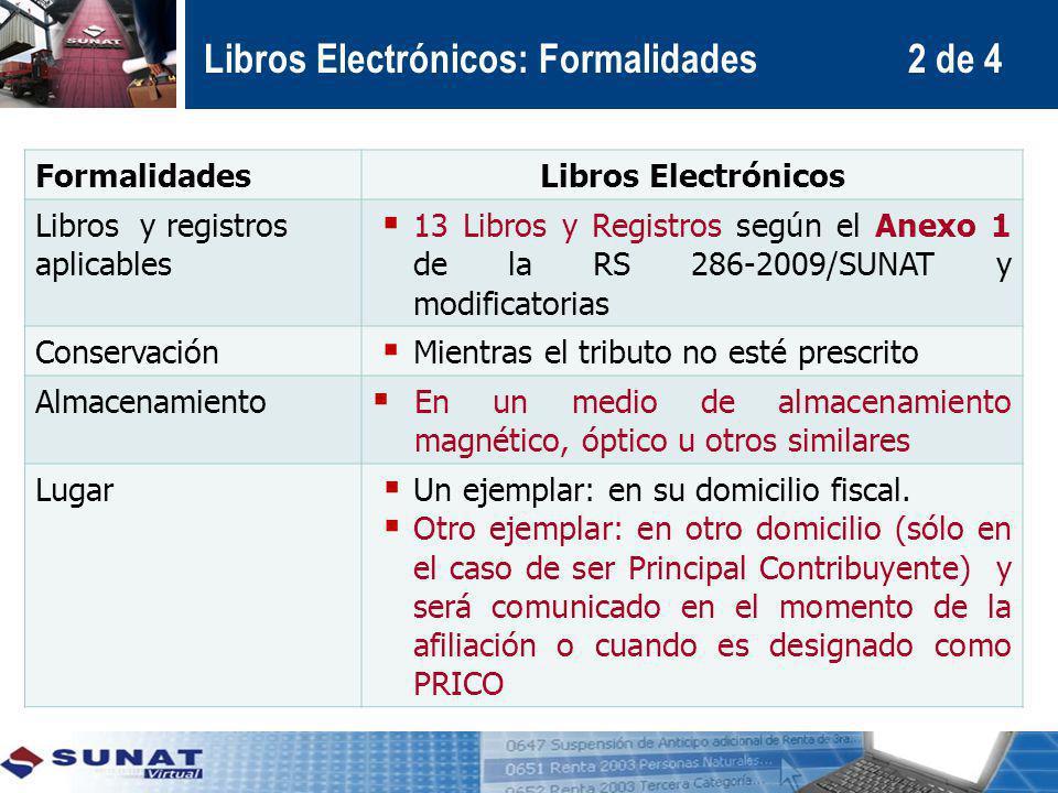 FormalidadesLibros Electrónicos Libros y registros aplicables 13 Libros y Registros según el Anexo 1 de la RS 286-2009/SUNAT y modificatorias Conserva