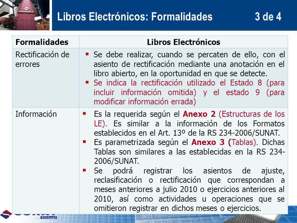 FormalidadesLibros Electrónicos Rectificación de errores Se debe realizar, cuando se percaten de ello, con el asiento de rectificación mediante una an