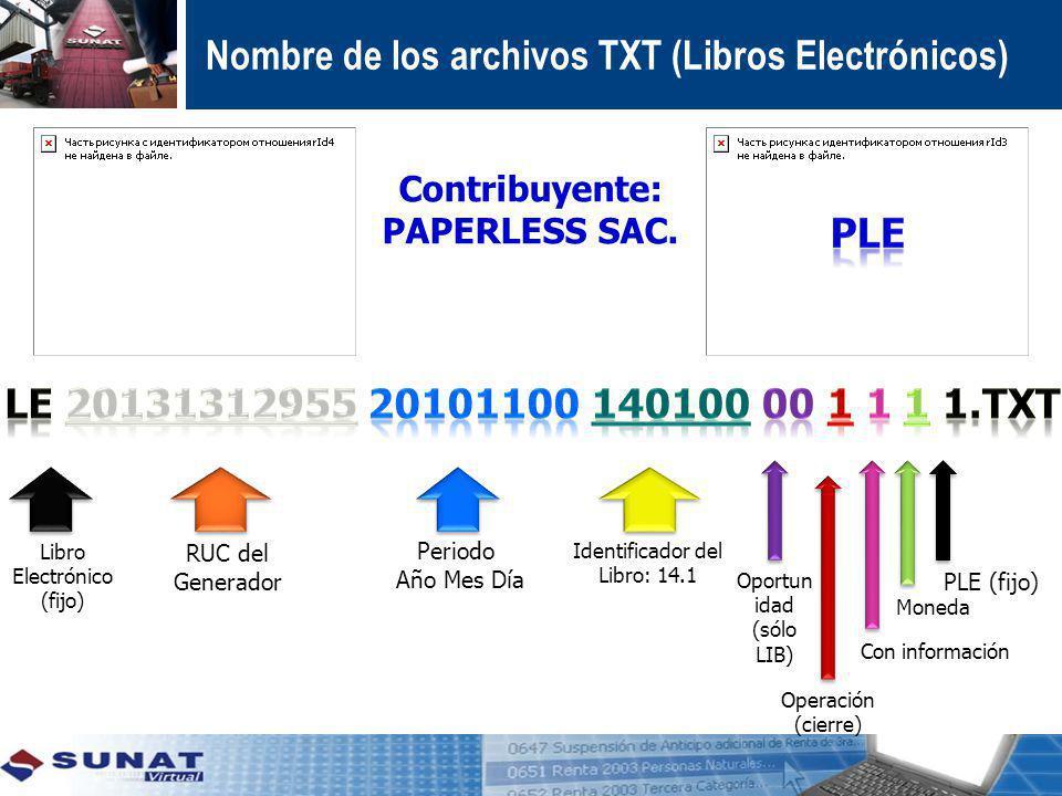Contribuyente: PAPERLESS SAC. Libro Electrónico (fijo) RUC del Generador Periodo Año Mes Día Identificador del Libro: 14.1 Operación (cierre) Oportun