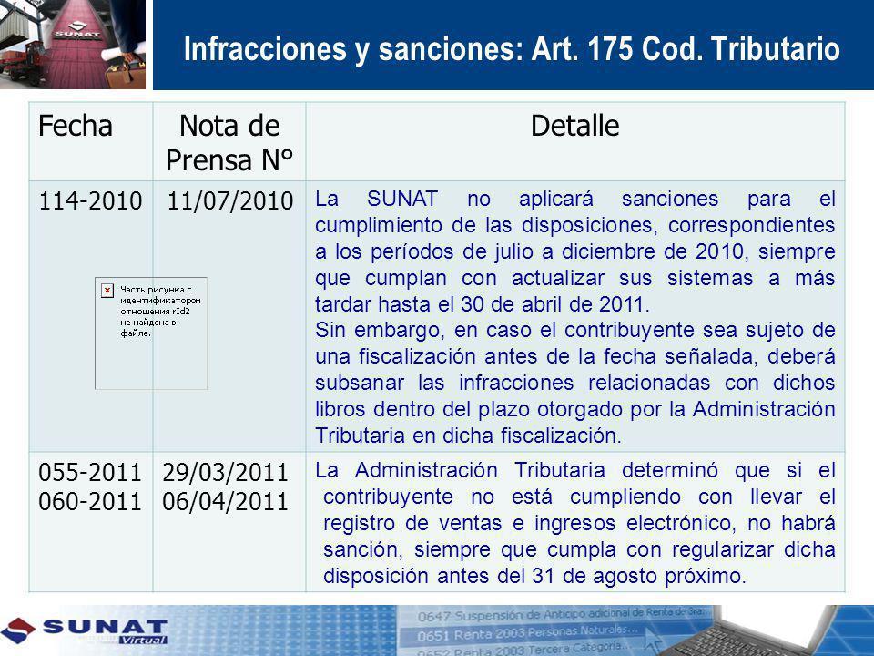 FechaNota de Prensa N° Detalle 114-201011/07/2010 La SUNAT no aplicará sanciones para el cumplimiento de las disposiciones, correspondientes a los per