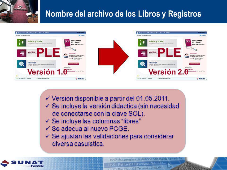 Nombre del archivo de los Libros y Registros PLE Versión 1.0 PLE Versión 2.0 Versión disponible a partir del 01.05.2011. Se incluye la versión didacti