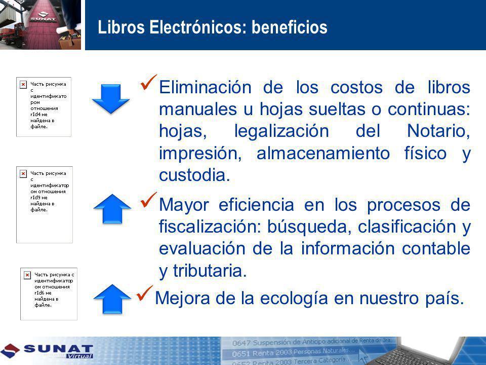 Libros Electrónicos: beneficios Eliminación de los costos de libros manuales u hojas sueltas o continuas: hojas, legalización del Notario, impresión,