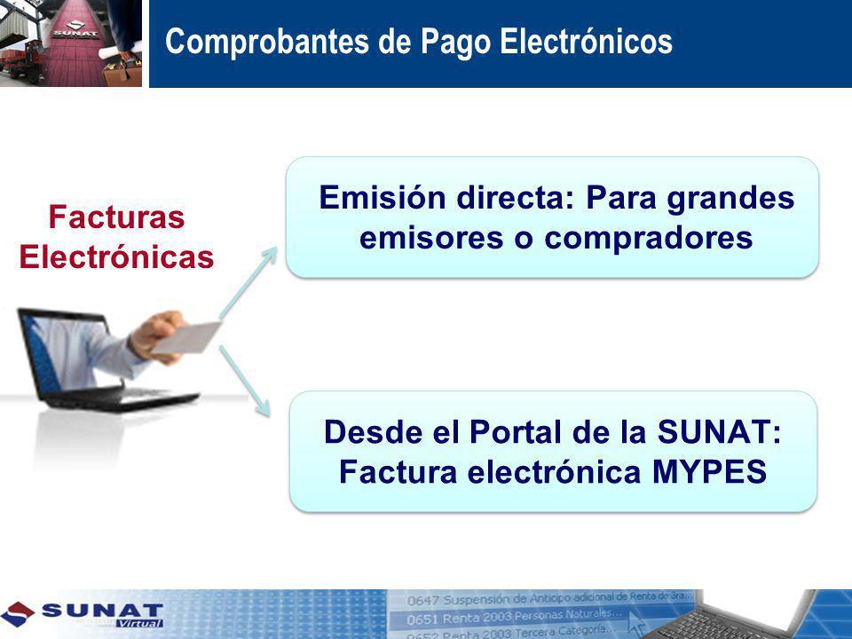 Desde el Portal de la SUNAT: Factura electrónica MYPES Emisión directa: Para grandes emisores o compradores Comprobantes de Pago Electrónicos Facturas