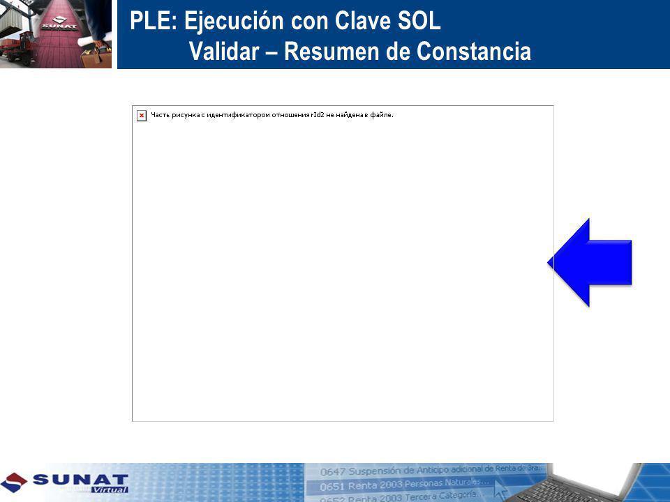 PLE: Ejecución con Clave SOL Validar – Resumen de Constancia