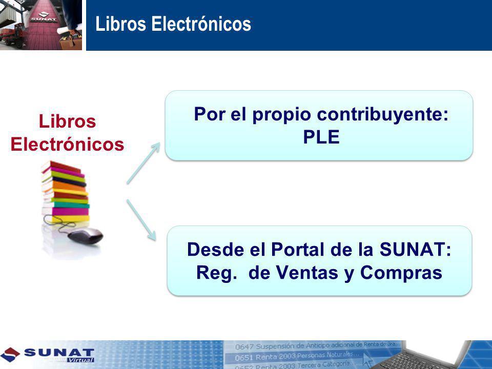 Desde el Portal de la SUNAT: Reg. de Ventas y Compras Por el propio contribuyente: PLE Libros Electrónicos