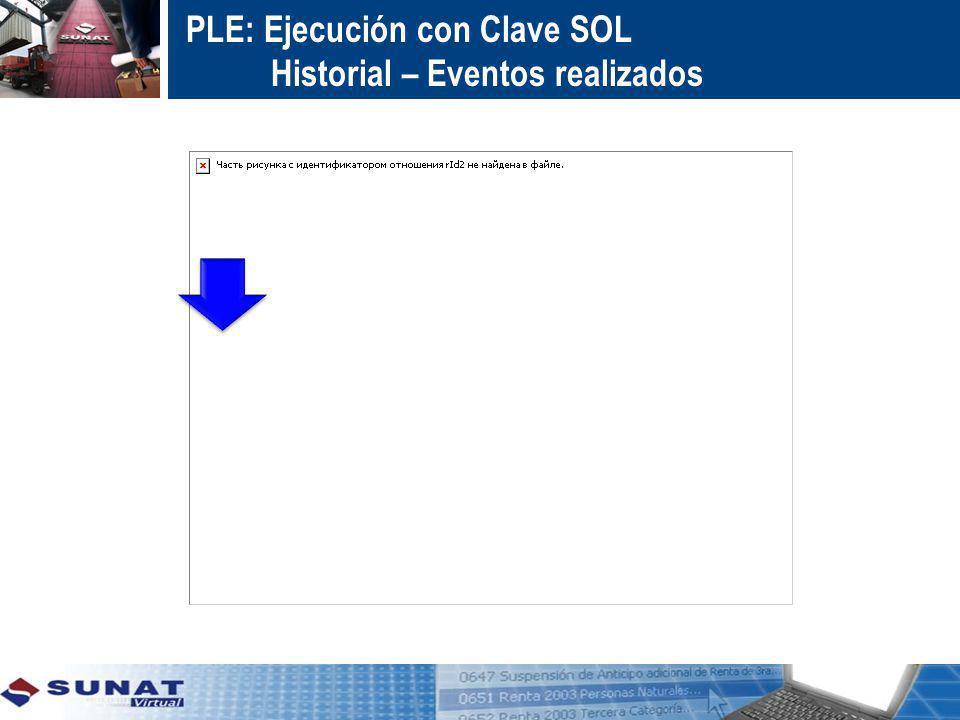 PLE: Ejecución con Clave SOL Historial – Eventos realizados