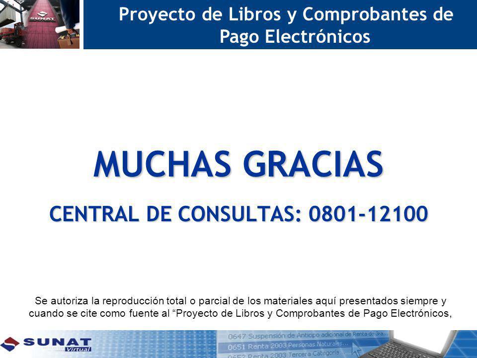MUCHAS GRACIAS Proyecto de Libros y Comprobantes de Pago Electrónicos CENTRAL DE CONSULTAS: 0801-12100 Se autoriza la reproducción total o parcial de