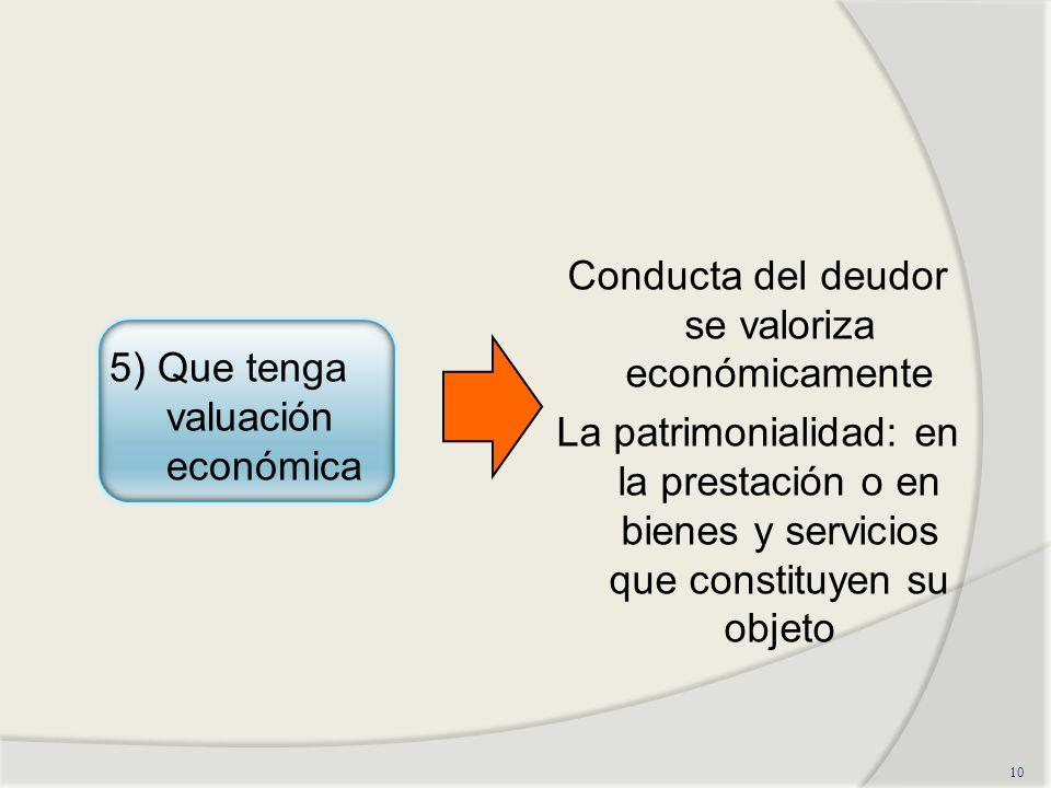 Conducta del deudor se valoriza económicamente La patrimonialidad: en la prestación o en bienes y servicios que constituyen su objeto 10 5) Que tenga