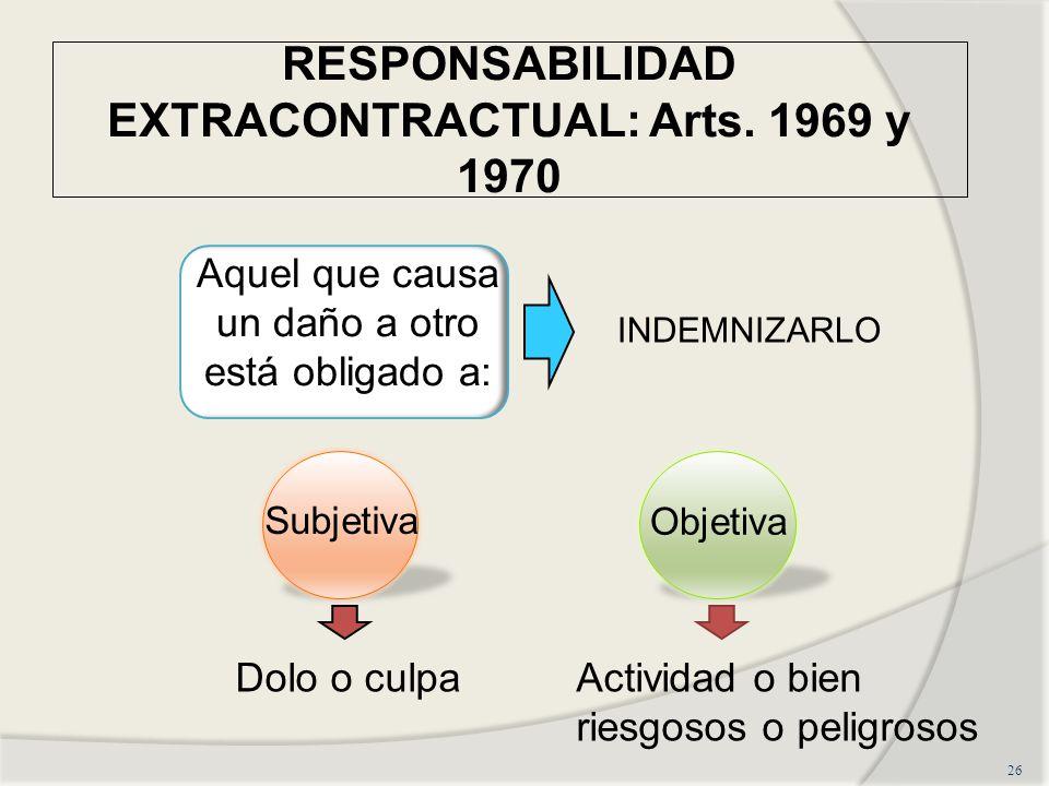 RESPONSABILIDAD EXTRACONTRACTUAL: Arts. 1969 y 1970 26 Aquel que causa un daño a otro está obligado a: INDEMNIZARLO Subjetiva Objetiva Dolo o culpaAct