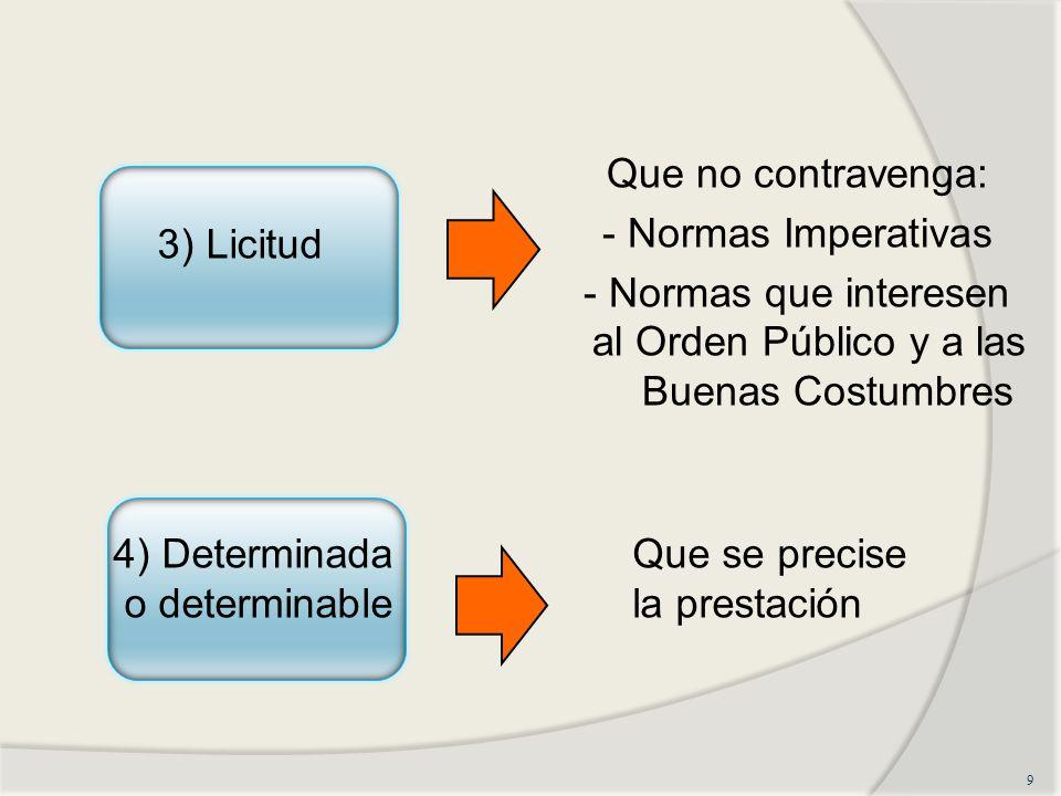 Que no contravenga: - Normas Imperativas - Normas que interesen al Orden Público y a las Buenas Costumbres 9 3) Licitud 4) Determinada o determinable