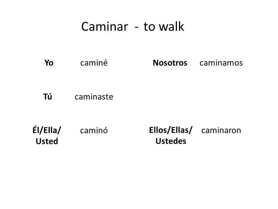 Caminar -to walk Yo Tú Él/Ella/ Usted Nosotros Ellos/Ellas/ Ustedes caminé caminaste caminó caminamos caminaron