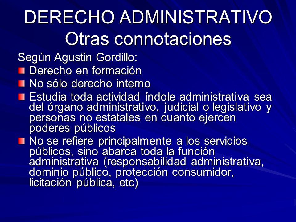 DERECHO ADMINISTRATIVO Otras connotaciones Según Agustin Gordillo: Derecho en formación No sólo derecho interno Estudia toda actividad índole administ