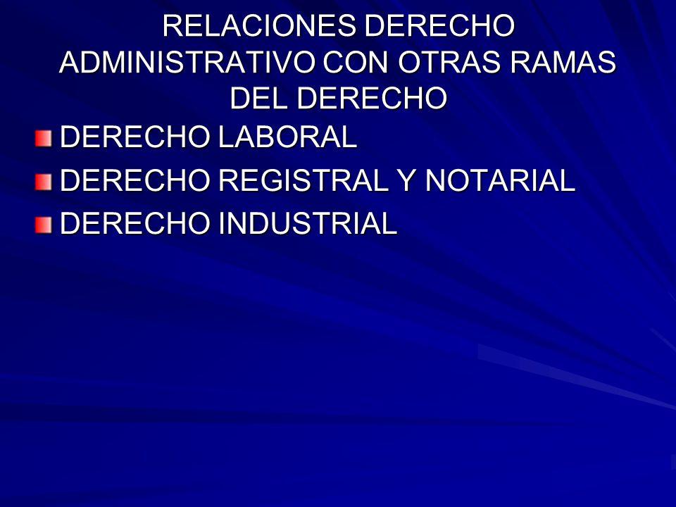 RELACIONES DERECHO ADMINISTRATIVO CON OTRAS RAMAS DEL DERECHO DERECHO LABORAL DERECHO REGISTRAL Y NOTARIAL DERECHO INDUSTRIAL