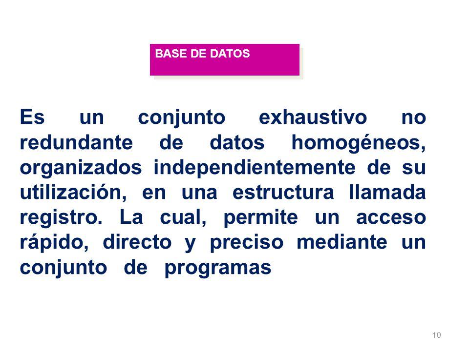 10 BASE DE DATOS Es un conjunto exhaustivo no redundante de datos homogéneos, organizados independientemente de su utilización, en una estructura llam