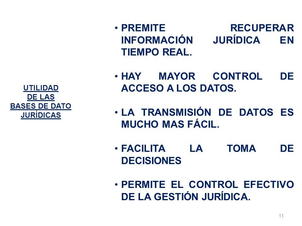 11 UTILIDAD DE LAS BASES DE DATO JURÍDICAS PREMITE RECUPERAR INFORMACIÓN JURÍDICA EN TIEMPO REAL. HAY MAYOR CONTROL DE ACCESO A LOS DATOS. LA TRANSMIS
