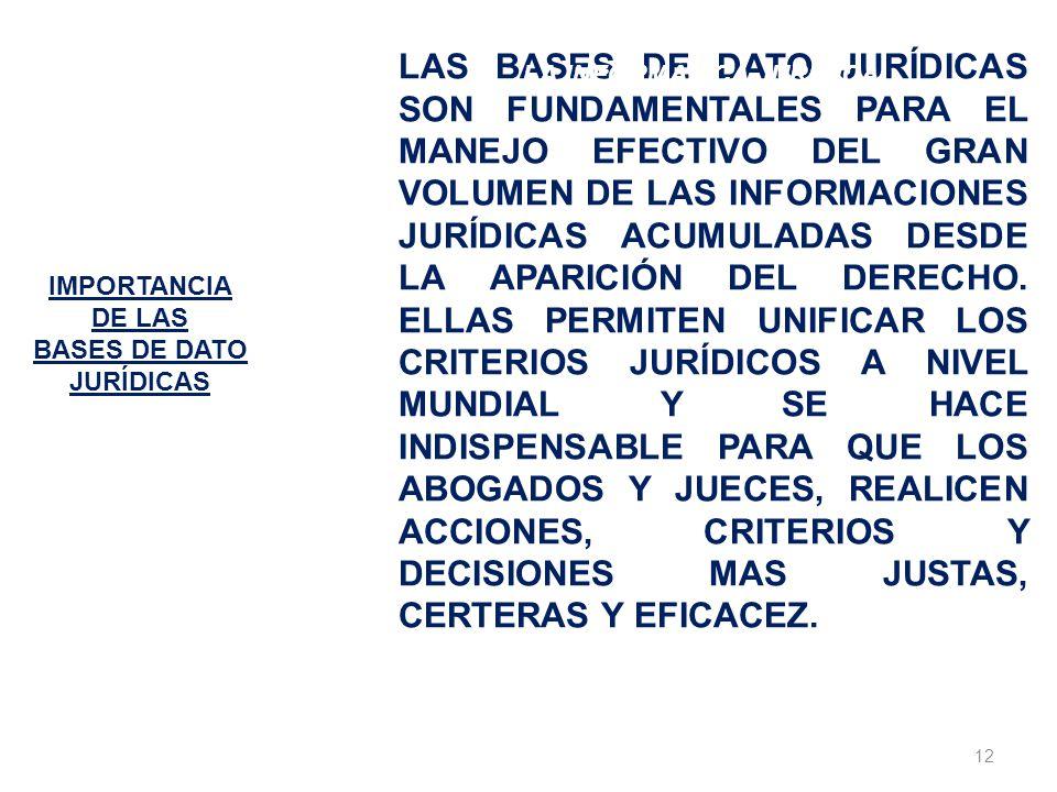 12 IMPORTANCIA DE LAS BASES DE DATO JURÍDICAS LAS BASES DE DATO JURÍDICAS SON FUNDAMENTALES PARA EL MANEJO EFECTIVO DEL GRAN VOLUMEN DE LAS INFORMACIO