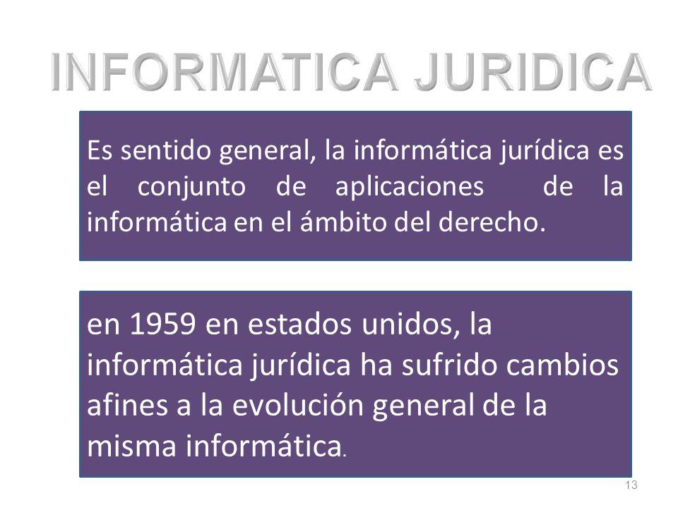 13 Es sentido general, la informática jurídica es el conjunto de aplicaciones de la informática en el ámbito del derecho. en 1959 en estados unidos, l