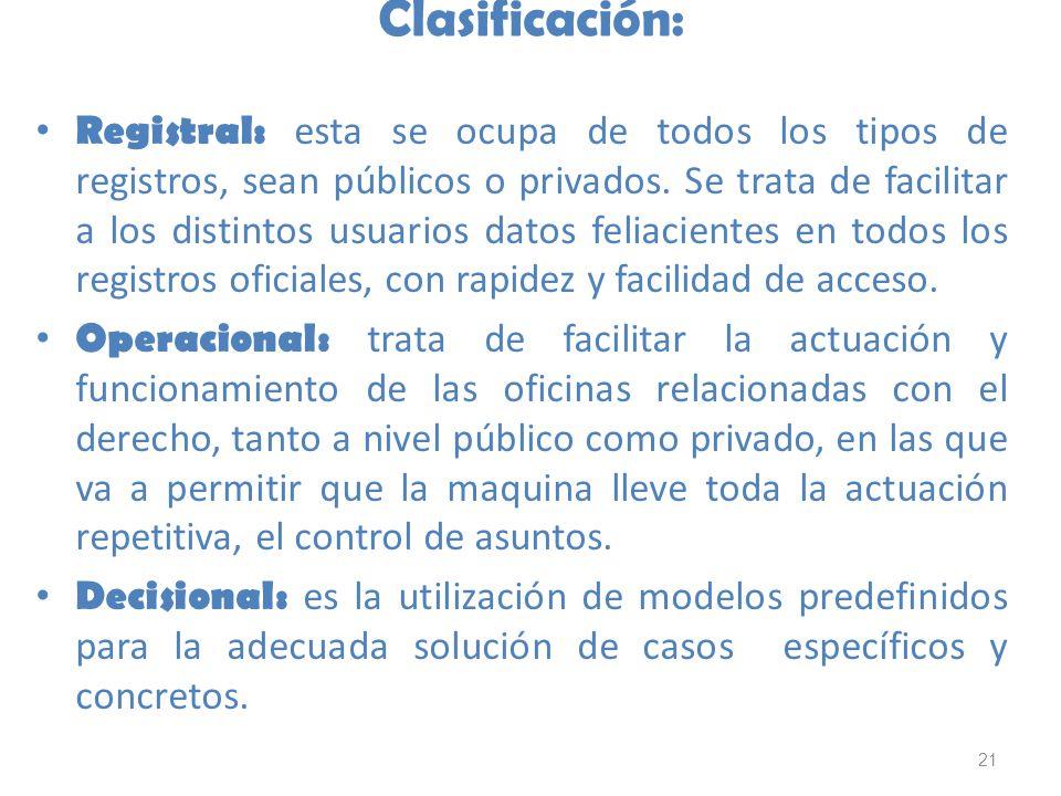 21 Clasificación: Registral: esta se ocupa de todos los tipos de registros, sean públicos o privados. Se trata de facilitar a los distintos usuarios d
