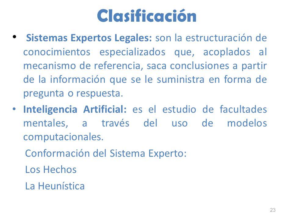 23 Clasificación Sistemas Expertos Legales: son la estructuración de conocimientos especializados que, acoplados al mecanismo de referencia, saca conc