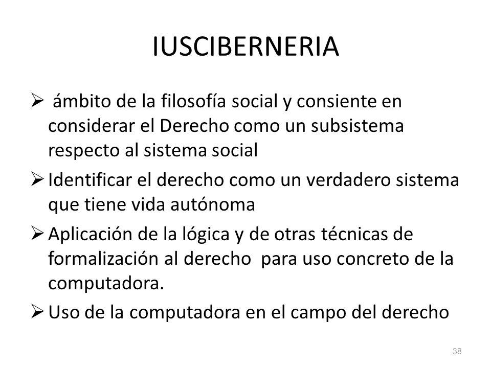 38 IUSCIBERNERIA ámbito de la filosofía social y consiente en considerar el Derecho como un subsistema respecto al sistema social Identificar el derec
