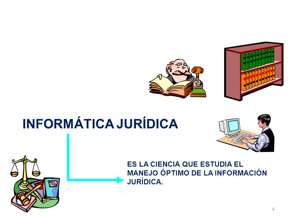 4 LA INFORMÁTICA JURÍDICA INFORMÁTICA JURÍDICA ES LA CIENCIA QUE ESTUDIA EL MANEJO ÓPTIMO DE LA INFORMACIÓN JURÍDICA.