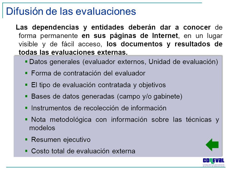 Las dependencias y entidades deberán dar a conocer de forma permanente en sus páginas de Internet, en un lugar visible y de fácil acceso, los documentos y resultados de todas las evaluaciones externas.