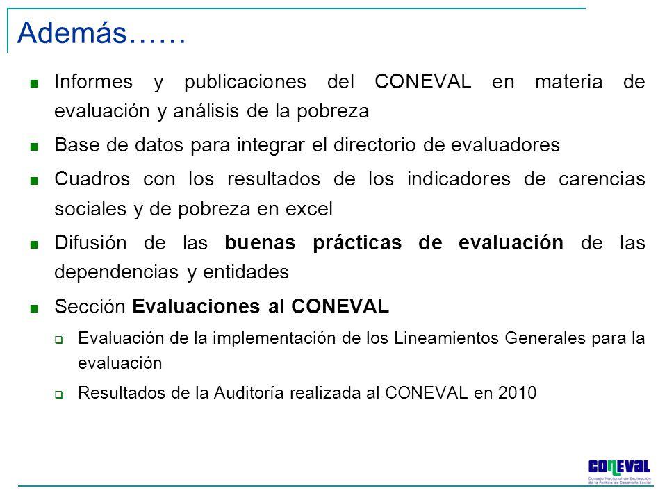 Informes y publicaciones del CONEVAL en materia de evaluación y análisis de la pobreza Base de datos para integrar el directorio de evaluadores Cuadros con los resultados de los indicadores de carencias sociales y de pobreza en excel Difusión de las buenas prácticas de evaluación de las dependencias y entidades Sección Evaluaciones al CONEVAL Evaluación de la implementación de los Lineamientos Generales para la evaluación Resultados de la Auditoría realizada al CONEVAL en 2010 Además……