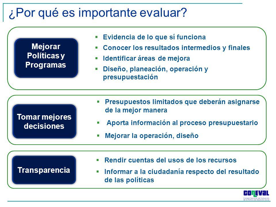 Presupuestos limitados que deberán asignarse de la mejor manera Aporta información al proceso presupuestario Mejorar la operación, diseño Rendir cuent