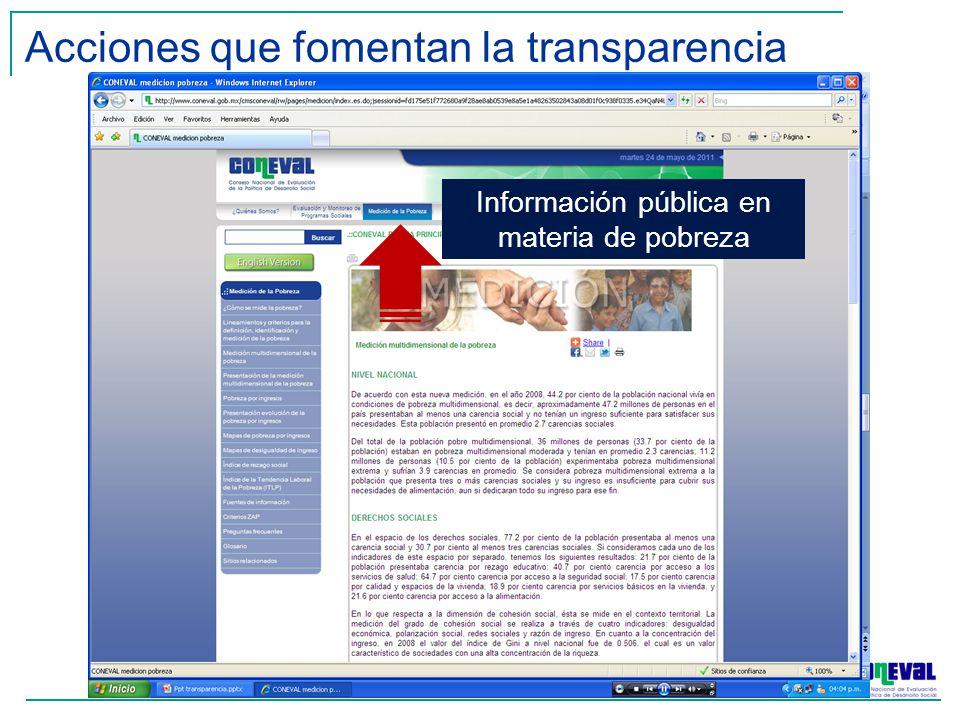 Acciones que fomentan la transparencia Información pública en materia de pobreza