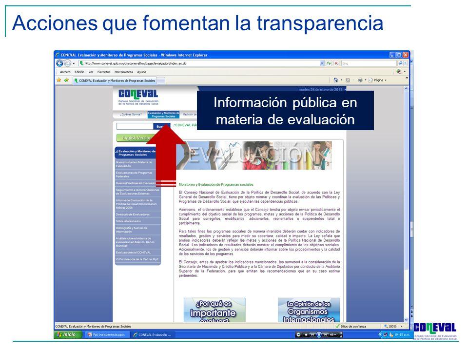 Acciones que fomentan la transparencia Información pública en materia de evaluación