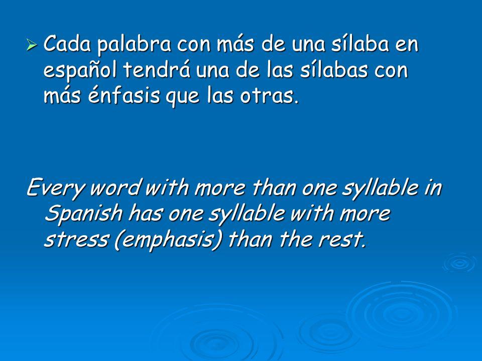 Cada palabra con más de una sílaba en español tendrá una de las sílabas con más énfasis que las otras. Cada palabra con más de una sílaba en español t