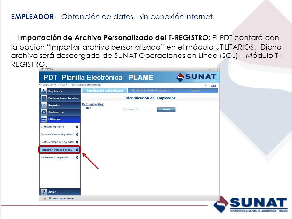 EMPLEADOR – Obtención de datos, sin conexión internet.