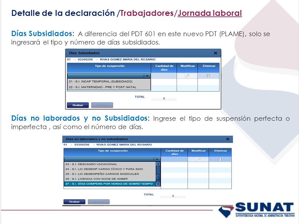 Detalle de la declaración /Trabajadores/Jornada laboral Días Subsidiados : A diferencia del PDT 601 en este nuevo PDT (PLAME), solo se ingresará el tipo y número de días subsidiados.